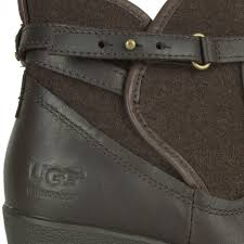 ugg australia womens emalie brown stout leather ankle boot 7 ebay ugg stout emalie s wedge ankle boot