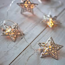 10 warm white led filigree silver star battery fairy lights