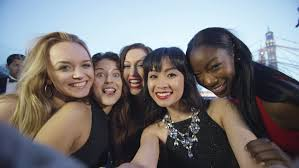 Take A Selfie 4k Happy Diverse Group Of Friends At Black Tie Event Pose To Take