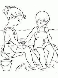 childhood friendship coloring page for kids seasons coloring