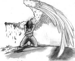 drawn sketch broken angel pencil and in color drawn sketch