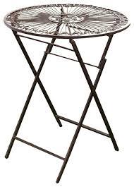 Ornate Metal Folding Bistro Chair Provence Metal Folding Garden Bistro Table Warm Brown