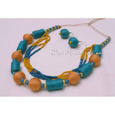 yellow turquoise necklace images Handmade turquoise blue and orange jute jewellery necklace and jpg