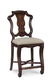 dining room fancy brown wooden carved backs counter height stools