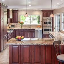 kitchen cabinet cherry cherry kitchen cabinets with gray wall and quartz countertops ideas