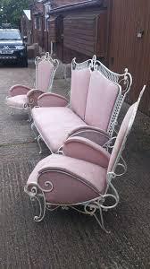 Retro Patio Chair Wrought Iron Patio Garden Conservatory Furniture Suite 60s Retro