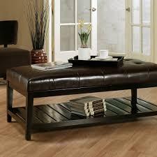 Coffee Table Storage Ottoman Leather Ottoman Coffee Table Big Shelf Or Rectangular Shape