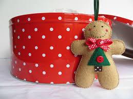 small felt christmas tree gingerbread man ornament felt