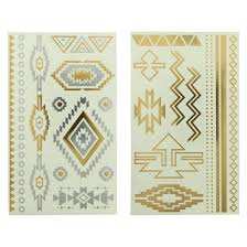 aztec metallic temporary tattoo set 2 pk gold silver target