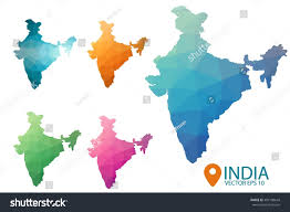 India Maps by Set Vector Polygonal India Maps Bright Stock Vector 495108643