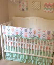 Nursery Bedding Sets For Girl by Mint Peach And Gray Arrows Ruffled Crib Bedding For A Baby Girl