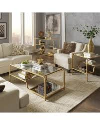 Living Room Accent Tables Find The Best Deals On Giana Chagne Gold Mirrored Shelves