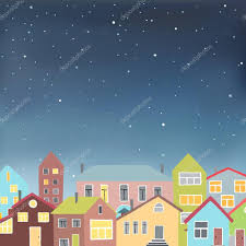 Different Houses by Different Houses On The Starry Sky Background U2014 Stock Vector