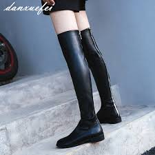s knee boots on sale s genuine leather black slim stretch the knee boots