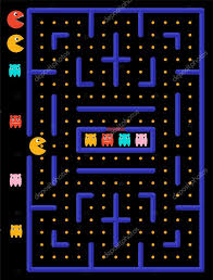 vector ghosts game maze with ghosts yellow monster eats yellow circles u2014 stock