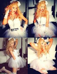 Halloween Costume Wedding Dress Paris Hilton Shares Photo Madonna Virgin Wedding