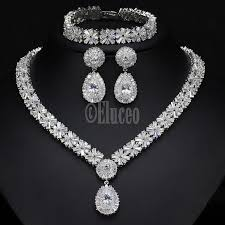 platinum plated necklace images Exclusive luxury cubic zirconia necklace earring bracelet party jpg