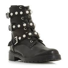 black biker boots risky pear embellished lace up biker boot black dune london
