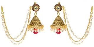 jhumka earrings with chain buy zevar alloy golden jhumka with chain ear to the hair