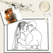 custom coloring photo wedding gift personalized
