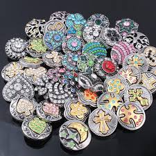 rhinestone bracelet charms images 50pcs lot mix many rhinestone styles metal charm 18mm snap button jpg