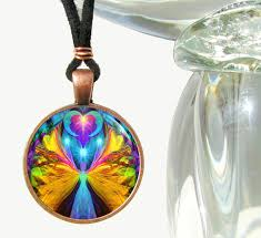 handmade angel necklace images Colorful necklace handmade angel pendant psychedelic jewelry JPG