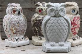 collection of cement owls owl doorstops or rustic garden