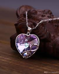 purple heart necklace images Wholesale fashion purple heart necklace for girlfriend swarovski jpg