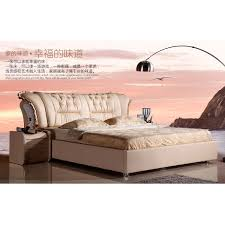 leather bed 18 meters double solid wood leather arts bed lotus