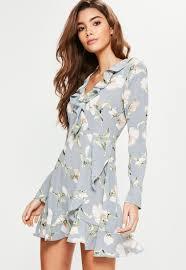 floral dresses blue floral ruffle tea dress missguided