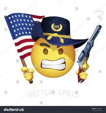 Yankee Flags Union Army Yankee Smiley Angered Emoticon Stock Vektorgrafik