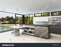 designer windows stylish designer kitchen interior white hardwood stock