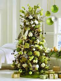christmas tree decorated white christmas tree with green decorations happy holidays