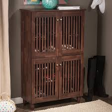 baxton studio riddle dark brown shoe cabinet with 4 doors free