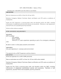 sample of resume with job description emt resume resume cv cover letter emt resume free emt emergency medical technician resume example sample emt resume professional resume cv template