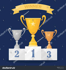 Trophy Pedestal Gold Silver Bronze Trophy Cup Goblet Stock Vector 614447642