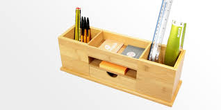 Office Desk Tidy Desk Tidy Wide Stationery Organiser Bamboo Stationery Box
