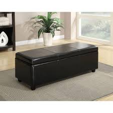hom faux leather storage ottoman shoe bench red image on