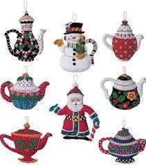 bucilla engelbreit felt ornament kit 85018 teapots