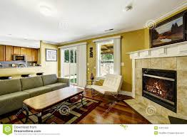 home interior with mustard walls and green couch stock photo