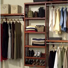 simple bedroom design with wooden wall mounted closet organizers