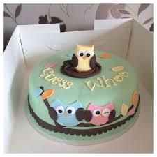 owl cakes for baby shower owl baby shower cake idea for gender revealing via