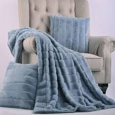 Faux Fur Throw Blanket Ashley Blue Rabbit Faux Fur Throw Blanket And Pillow Set Combo