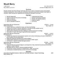 Resume Ongoing Education Excellent Agricultural Field Service Technician Resume Example
