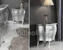 comodini foglia argento 2 cassetti foglia argento