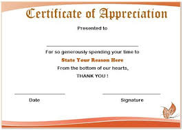 sample text for certificate of appreciation 13 volunteer appreciation certificates free printable word