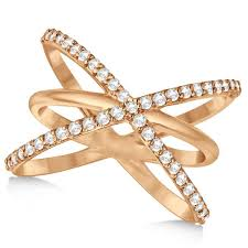 diamond x ring x ring with three criss cross bands 14k gold 0 50ct