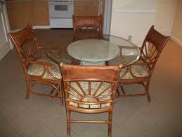 furniture round glass dining table top with round brown wooden