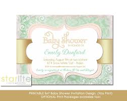 gold and pink baby shower invitations party xyz