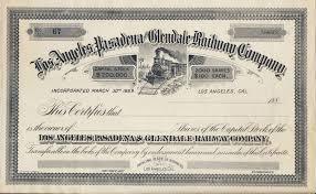 los angeles pasadena u0026 glendale railway blank stock certificate